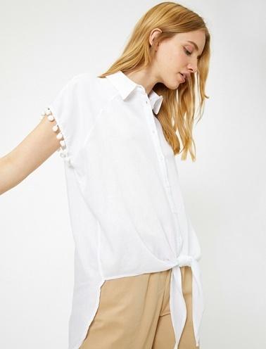 Koton Kol Detaylı Gömlek Beyaz